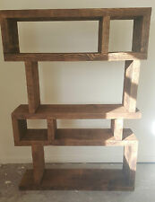SOLID WOOD RUSTIC CHUNKY WOODEN RANDOM SHELF BOOKCASE DISPLAY MADE TO MEASURE