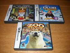 Lot of 3 Nintendo DS Games - Zoo Tycoon, Club Penguin, & Hotel Giant