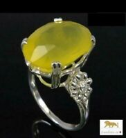 8.91 ct NATURAL YELLOW OPAL SILVER RING