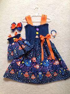 New Handmade Blue Finding Dory Dress Toddler/Girls (2T-9/10) Doll Dress, Bow