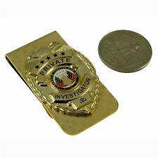 Private Eye Investigator Mini Badge Pi Money Clip Gold Spy Investigations