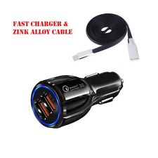 Car Fast Charger Universal 2USB Ports & Charging data Cables  Type C Micro USB