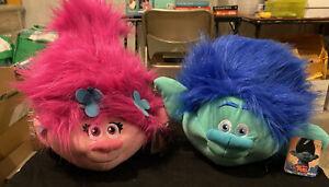 Trolls Movie Branch And Poppy Fuzzbies Plush Ball Doll Brush Amazing 🔥🔥