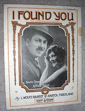 1919 I FOUND YOU Waltz Ballad Sheet Music by Gilbert & Friedland STONE & KALISZ