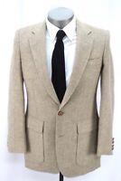 vintage mens brown tan herringbone HAGGAR tweed blazer jacket sport coat 38 R