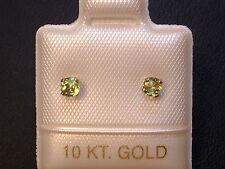 Feinste Peridot Ohrstecker Ohrringe - 3 mm - 14 Kt. Gold - 585 - Brillantschliff