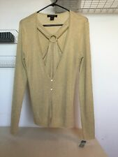 NWT AUGUST SILK WOMEN'S SWEATER SHIRT TOP SEXY GOLD W/DETAIL RING SIZE LARGE
