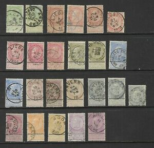 Belgium - 1893 -1900 5c to 2f used + extra shades mostly with labels SG 81-92