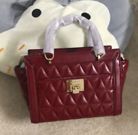 NWT MICHAEL KORS PATENT QUILTED LEATHER VIVIANNE TOP ZIP MESSENGER BAG CHERRY