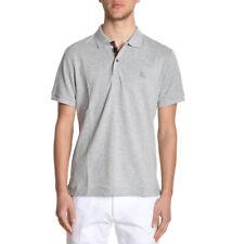 Burberry pale grey melange polo shirt short sleeve men oxford check s,m,l,xl,2xl