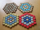4 Vintage Fabric Wrapped Pop / Beer Lids Trivets As Shown