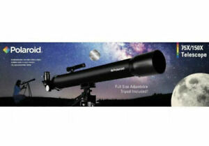POLAROID (IT-160X) 75X/150X Refractor Telescope With Full Size Adjustable Tripod