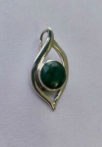 Solid 925 Sterling Silver Emerald Gemstone Pendant Necklace Jewelry #2389