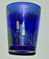 Nice MINTY New York City Sky Line Statue of Liberty Blue Shot Glass