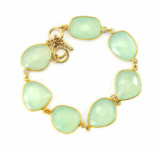 Aqua Green Chalcedony Bracelet 14k Gold Filled 7 8 Inch Adjustable Bezel Chain