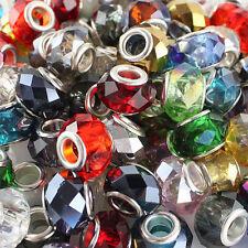 20X Randomly Mixed Facet Crystal Glass Big Hole Bead Fit European Charm Bracelet