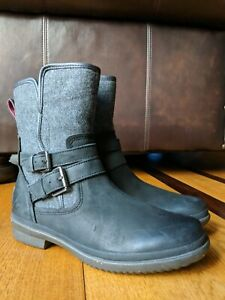 UGG 'Simmens' Black Waterproof Leather Mid-Calf Fur Lined Boots Booties SIZE 6.5