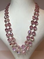 1960s Twin Strand Necklace Vintage Wired Glass Adjustable Pink Beaded Retro Old