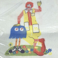 Vintage Ronald McDonald Stamped Needlepoint Canvas 1978 Blue Fry Kid McDonald's