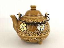 vintage ceramic tea pot, metal handle, Japan, brown with flowers