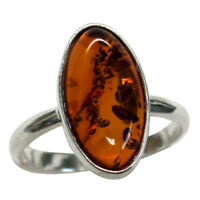 STYLISH NATURAL BALTIC AMBER 925 STERLING SILVER RING SIZE 5-10