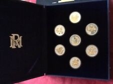 WALT DISNEY'S FANTASIA 7 COIN SET .999 PURE SILVER 22KT GOLD PLATED NIB