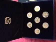 WALT DISNEY'S FANTASIA 7 COIN SET .999 PURE SILVER 22KT GOLD PLATED NIB