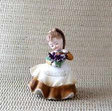Vintage Lefton February Geo Birthday Girl Flower Purple Violets Figurine Kw4200