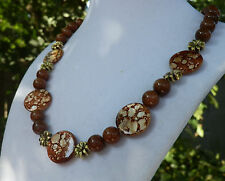 "18""  Handmade Red Goldstone with Mother of Pearl and Flower Accent Necklace"