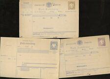 GERMANY BAVARIA 1870 STATIONERY PACKET CERTIFICATES 6pf 12pf 20pf