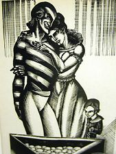 Lynd Ward 1930 SLAVE TRADER HOME w POT of GOLD SLAVERY Art Deco Print Matted