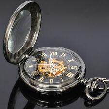 Schwarz Skelettuhr Mechanische Uhr Handaufzug Herren Analog Taschenuhr mit Kette