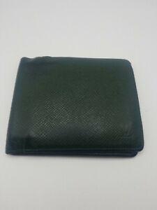 Louis Vuitton Taiga Green Leather Men's Bifold Wallet