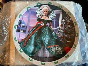 Happy Holidays Barbie Plate and Ornament - 1995 - ENESCO Hallmark - NIB