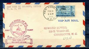 1953 3 February. FIRST FLIGHT by F.A.M. 27 to NEW YORK- COLOMBO. CEYLON