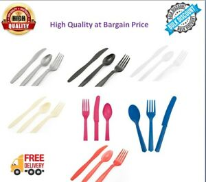 Disposable Plastic Cutlery Colour Color Coloured Set Pieces Knife Fork Spoon new