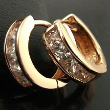 EARRINGS HOOP HUGGIE REAL 18K ROSE G/F GOLD DIAMOND SIMULATED DESIGN FS3AN541