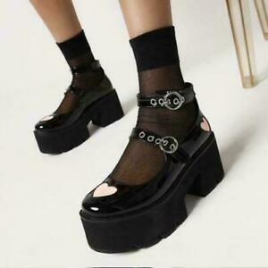 Womens new Fashion Patent Buckle Strap Platform Chunky Heel Mary Jane Shoes FAV