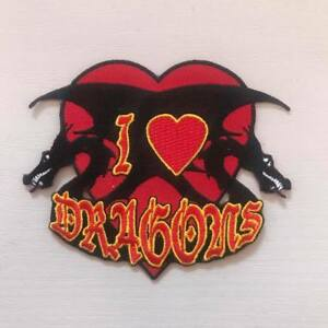 I Love Dragons Embroidered Die Cut Sew on Patch, NEW UNUSED