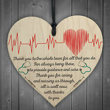All Is Well Now Doctors & Nurses Thank You Wooden Heart Plaque Hospital Gift