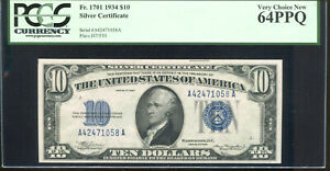 1934 $10 Silver Certificate A42471058A PCGS Very Choice New 64PPQ