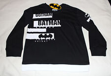 DC Comics Batman Boys Gotham Black Printed Long Sleeve T Shirt Size 8 New