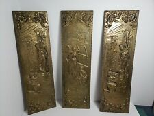 Vintage Brass Embossed Rectangular Wall Decor Made In England