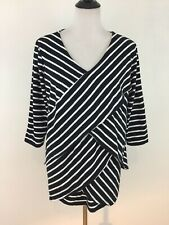 Jessica London V Neck Top Size 18 / 20 Black White Stripe Cotton 3/4 Sleeve