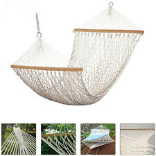 "79""x 49"" Cotton Rope Swing Double Hammock Hanging Patio Garden Camping 2 Person"