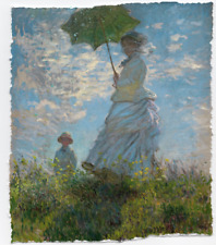 CLAUDE MONET WOMAN WITH PARASOL MADAME HAND FINISHED PAINT LIMITED EDITION PRINT
