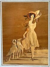 Signed YB010-MARQUETRY WOOD Sculpture Picture/ART-LADY/Woman& 2 DOGS-Deerhounds?