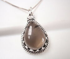 Smoky Quartz with Sawtooth Accents 925 Sterling Silver Pendant Corona Sun