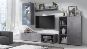 Furniture Living Room Set TV Unit Shelf Cabinet 'DAMIAN' GREY Wall Unit set Led