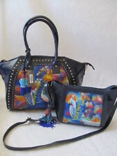 $390 SHARIF HAND PAINTED LEATHER DARK BLUE PEACOCK BLOOMS 2 PC BAG PURSE - NWT